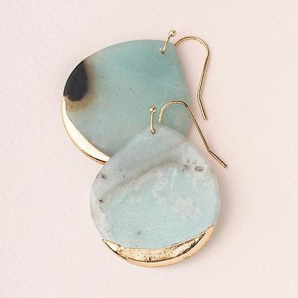 Stone Dipped Teardrop Earrings Amazonite/Gold