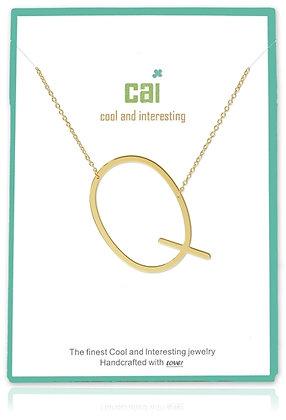 Medium Sideways Initial Necklace--Q