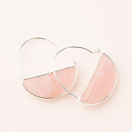 Stone Prism Hoops Rose Quartz/Silver