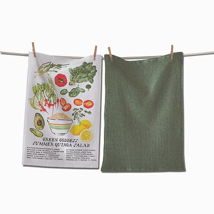 Green Goddess Salad Dishtowel Set in Decorative Kraft Crate