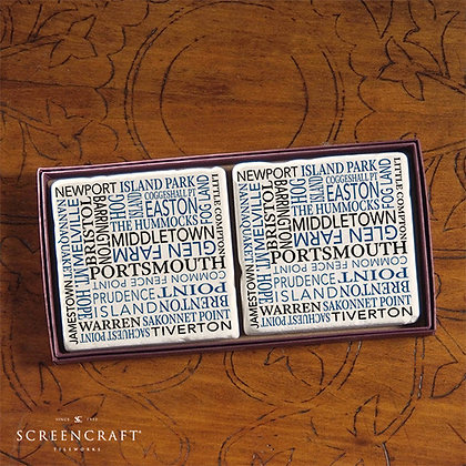 Words of Narragansett Bay Marble Coaster Set
