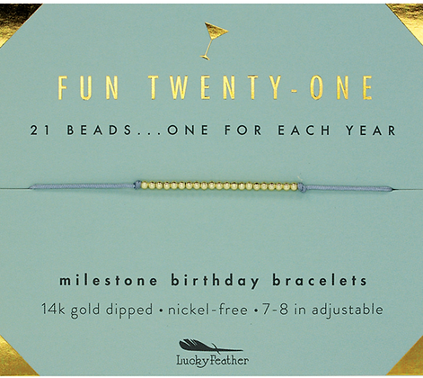 Fun Twenty-One Milestone Birthday Bracelet