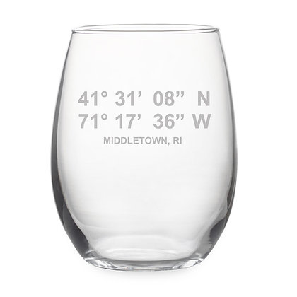 Middletown Latitude/Longitude Stemless Wine Glass