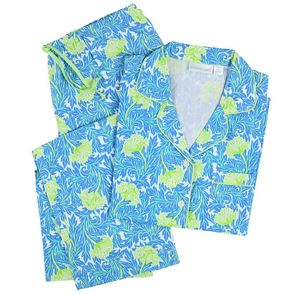 Carlyle Blue Cotton Poplin Classic Long Sleeve Pajamas