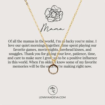 Mama Necklace. CZ Circle Charm