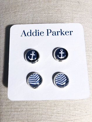 Anchor Stud Earrings Set of Two
