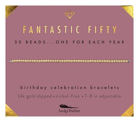 Fantastic Fifty Milestone Birthday Bracelet
