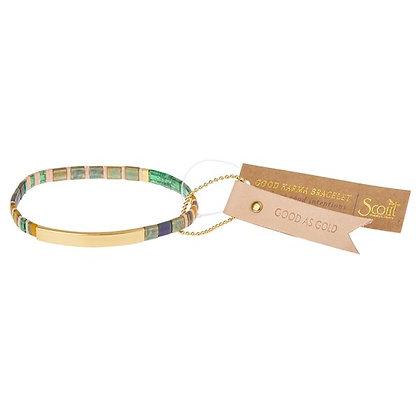 Good Karma Miyuki Bracelet | Good as Gold - Forest/Blush/Gold