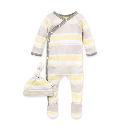 Burt's Bees Baby Local Stripe Organic Baby Footie Jumpsuit & Knot Top Hat Set