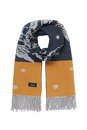 Elissa Jacquard Scarf in Gold Floral from Joules