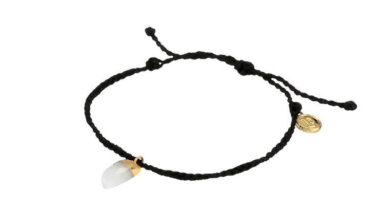 Stone Shark Tooth Crystal Bracelet Black