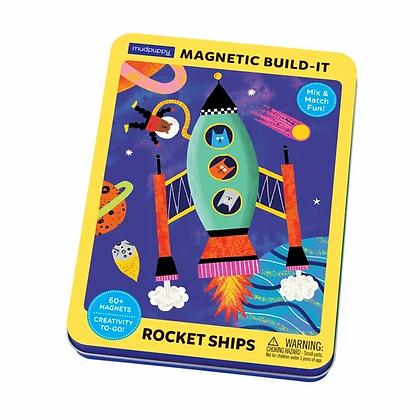 Rocket Ships Magnetic Built-It Tin