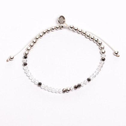 Christ Within Crystal Morse Code Bracelet Silver