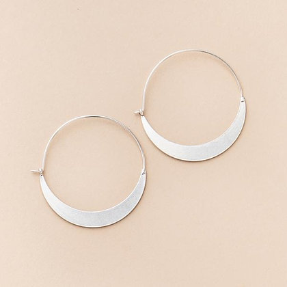 Refined Earring Collection - Crescent Hoop/Sterling Silver