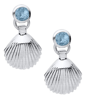 Sterling Silver Small Scallop with Blue Topaz Drop Earrings
