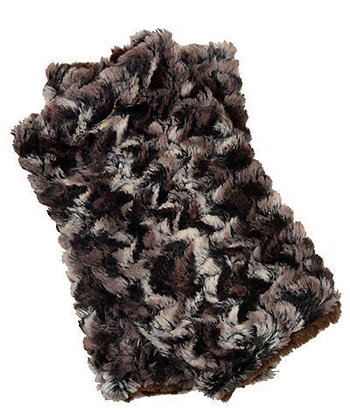 Faux Fur Fingerless/Texting Gloves in Calico