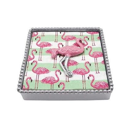 Pink Flamingo Beaded Napkin Box