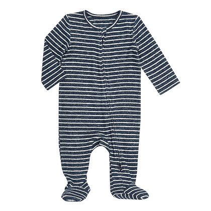 Snuggle Knit Newborn Footie Navy Stripe