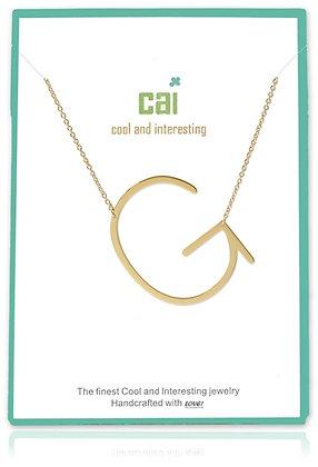 Medium Sideways Initial Necklace--G