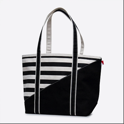 Medium Contemporary Boat Bag--Broad Stripe Black