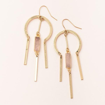 Dream Catcher Stone Earrings Rose Quartz/Gold
