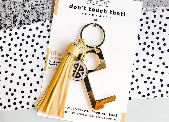 Don't Touch That! Keychain Gold w/Yellow Tassel