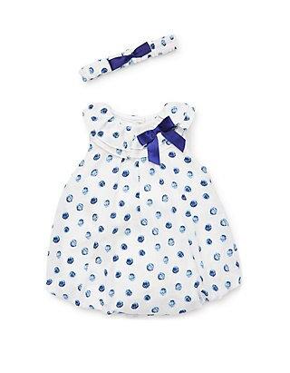 Blue Dot Bubble Dress w/Headband