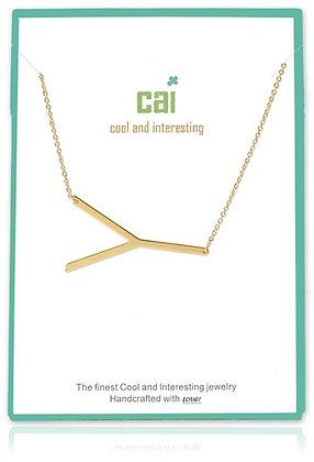 Medium Sideways Initial Necklace--Y