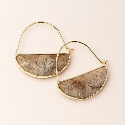 Stone Prism Hoops Fossil Coral/Gold