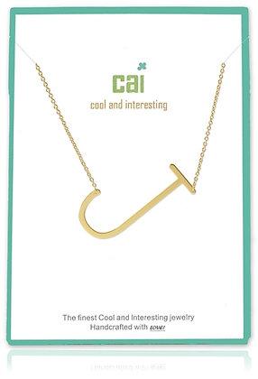 Medium Sideways Initial Necklace--J