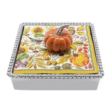 Orange Enamel Pumpkin Beaded Napkin Box