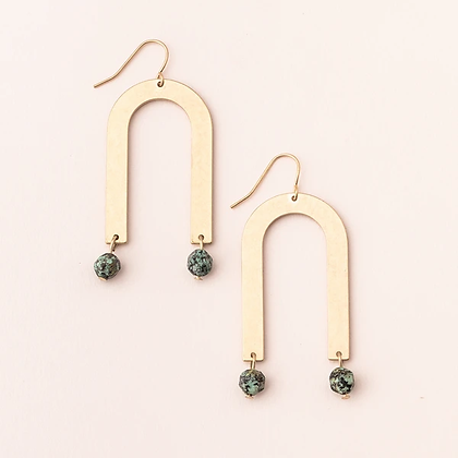 Stone Arches Earring - African Turquoise/Gold