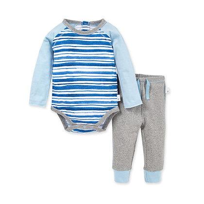 Burt's Bees Baby River Stripe Organic Bodysuit/Pant Set
