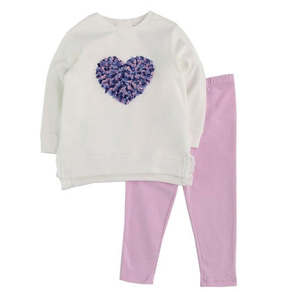 Textured Heart 2pc Sweatshirt Set