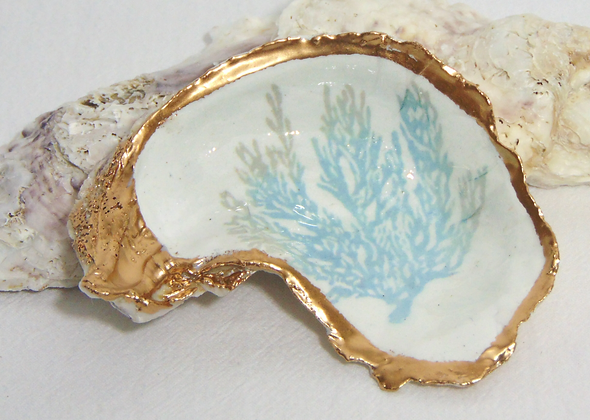 Sea Fan Coral Oyster Shell Jewelry Bowl