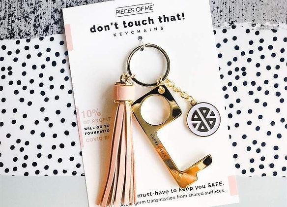 Don't Touch That! Keychain Gold w/Blush Tassel