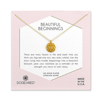 Beautiful Beginnings Lotus Pendant Necklace, Gold Dipped