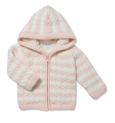 Pink Stripe Sherpa Hoodie