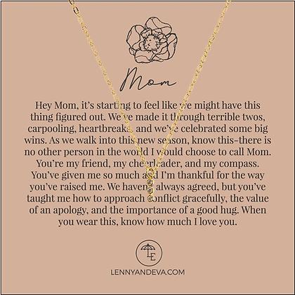 Mom Necklace, CZ Tri-Stone Charm