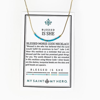 Blessed is She Morse Code Necklace Gold