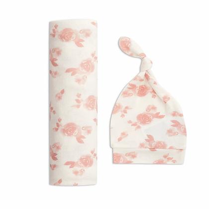 Snuggle Knit Newborn Swaddle &  Hat Set Rosettes