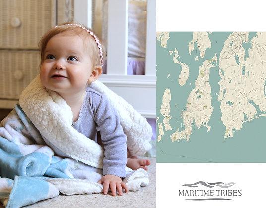 Aquidneck Island Seaglass Sherpa Baby Blanket