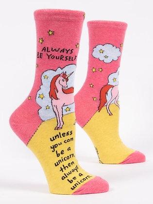 Always Be Yourself Women's Crew Socks Blue Q
