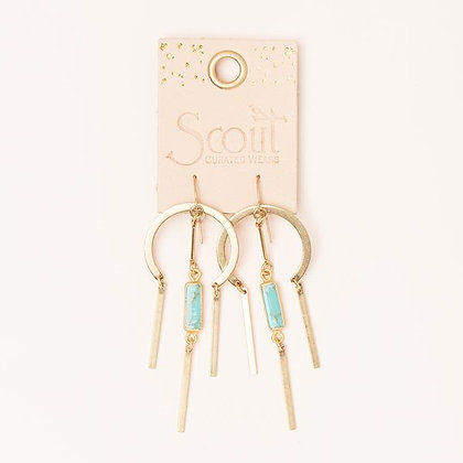 Dream Catcher Stone Earrings Turquoise/Gold