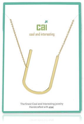 Medium Sideways Initial Necklace--U
