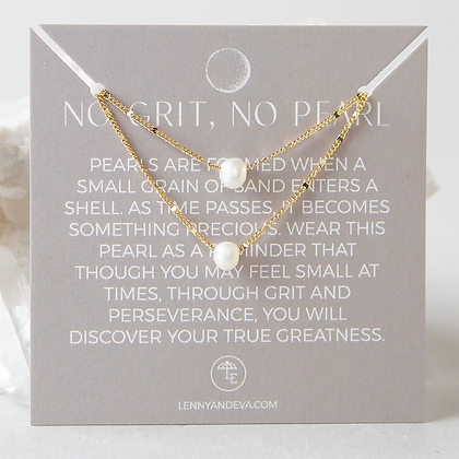 No Grit, No Pearl Lily Necklace--Pearl