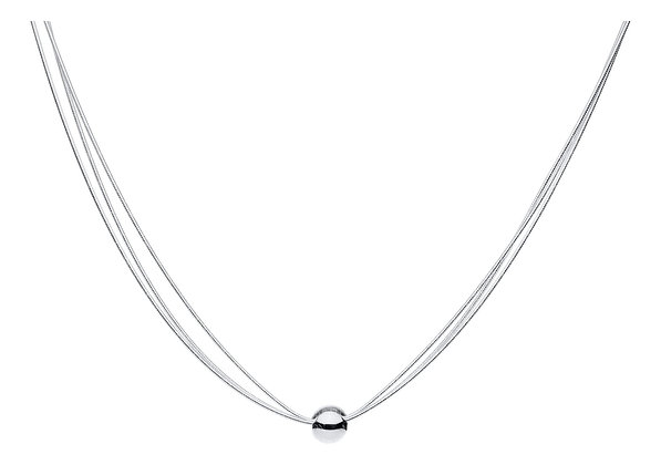 Sterling Silver Triple Strand, Single Bead Adjustable Necklace