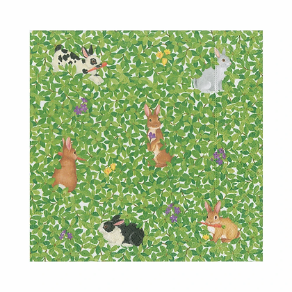 Bunnies and Boxwood Paper Luncheon Napkins