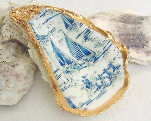 Sailboat Toile Oyster Shell Jewelry Bowl