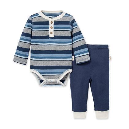 Foothills Stripe Bodysuit & Pant Set Huckleberry